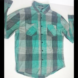 Carbon slim fit button down Top
